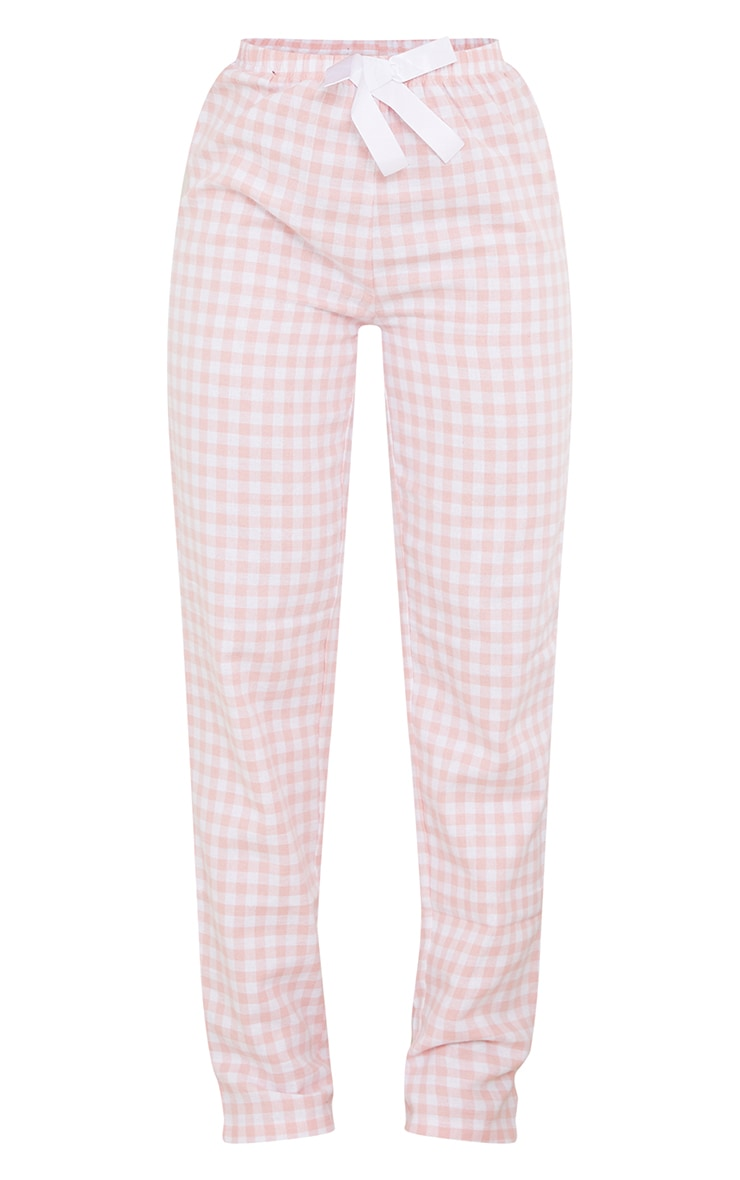 Pale Pink Mix And Match Tie Waist Check PJ Trousers 5