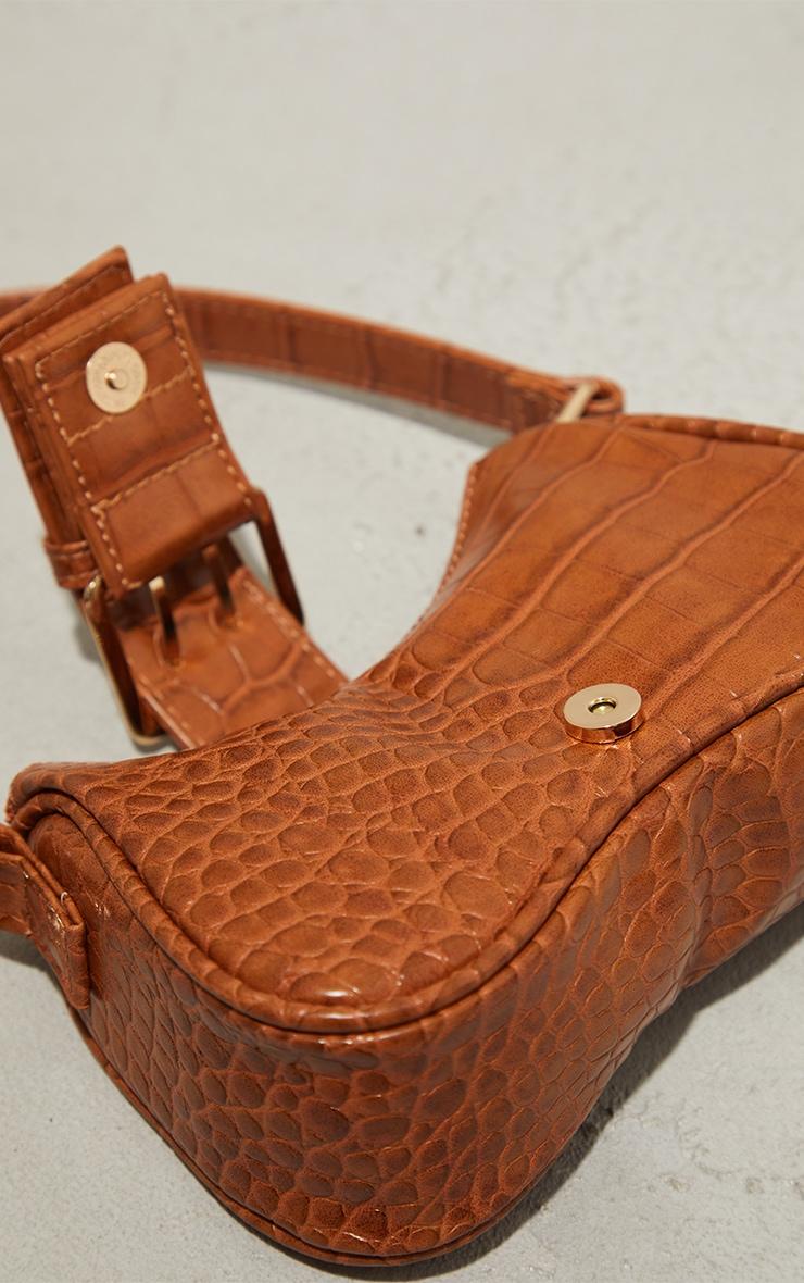 Tan Croc Buckle Mini Shoulder Bag 4