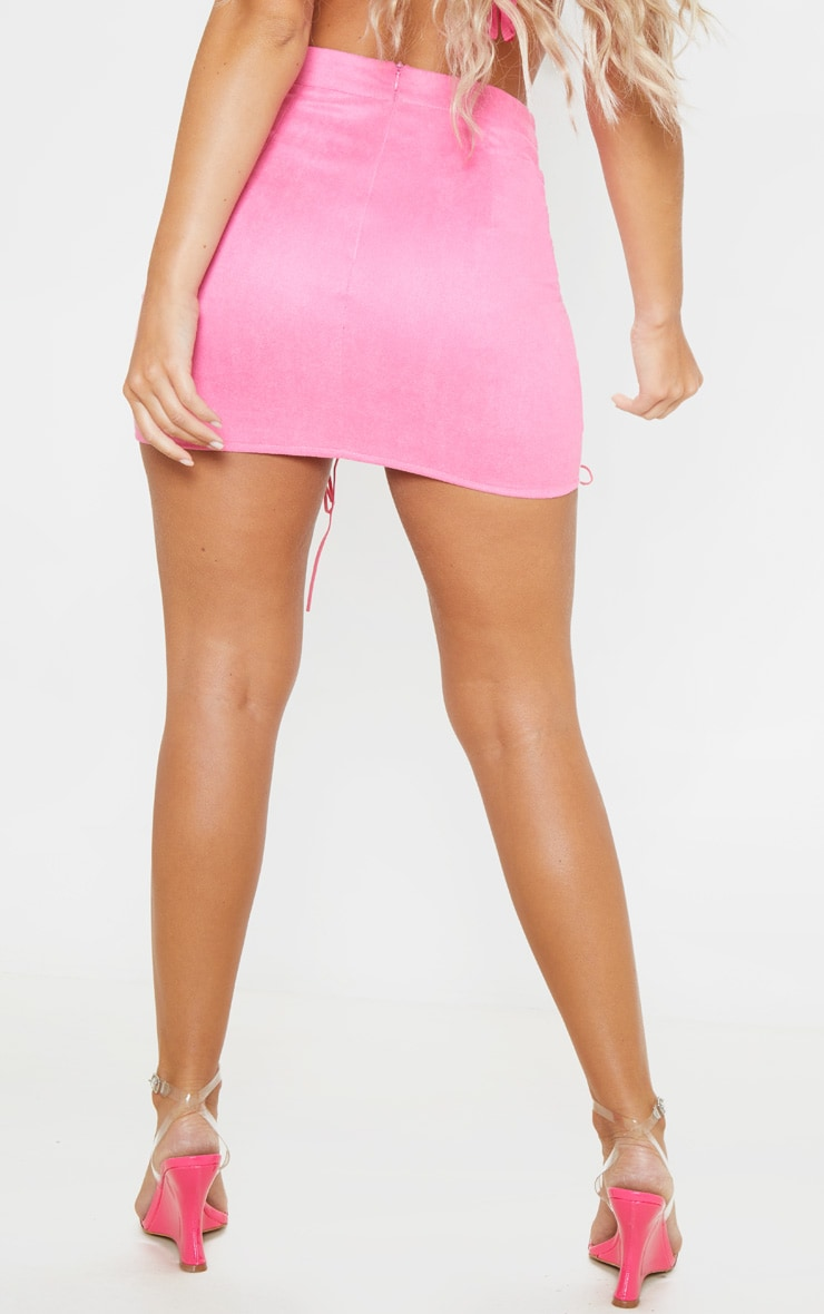 Hot Pink Faux Suede Lace Up Detail Mini Skirt 4