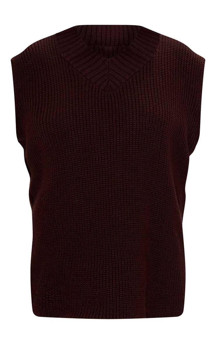 Chocolate V Neck Knitted Side Split Vest 5