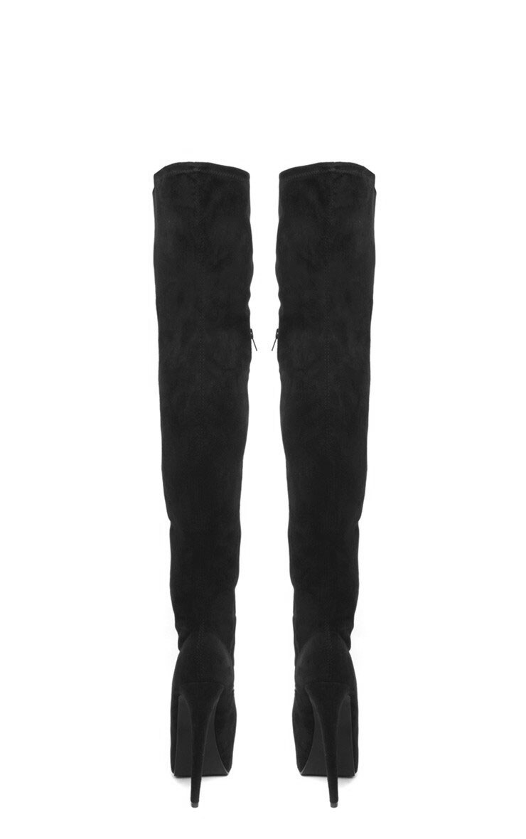Izzy Black Suedette Over The Knee Boots 2