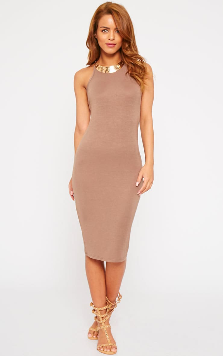 Basic Mocha Thin Strap Racer Neck Jersey Midi Dress 1