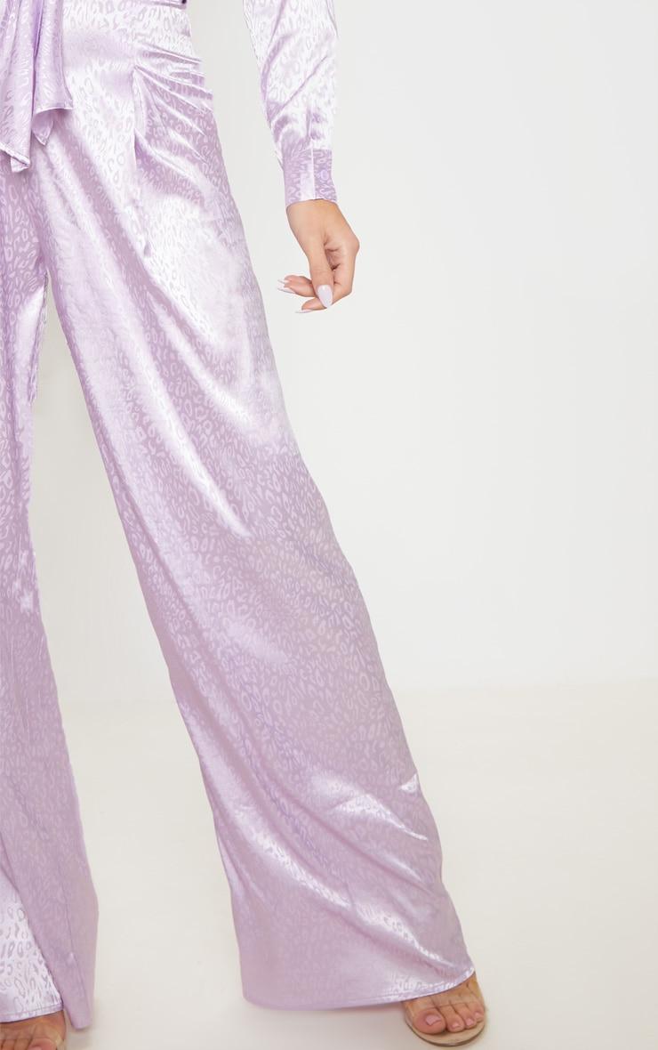 Lilac Satin Jacquard Wide Leg Trouser 5