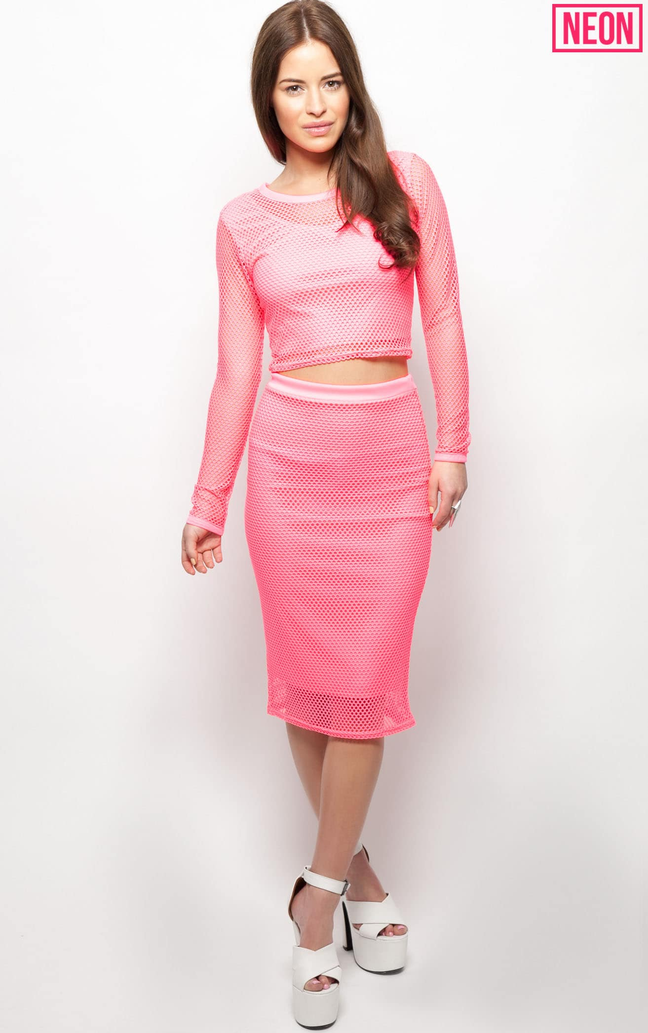 Eleanor Neon Pink Fishnet Long Sleeve Crop Top 3