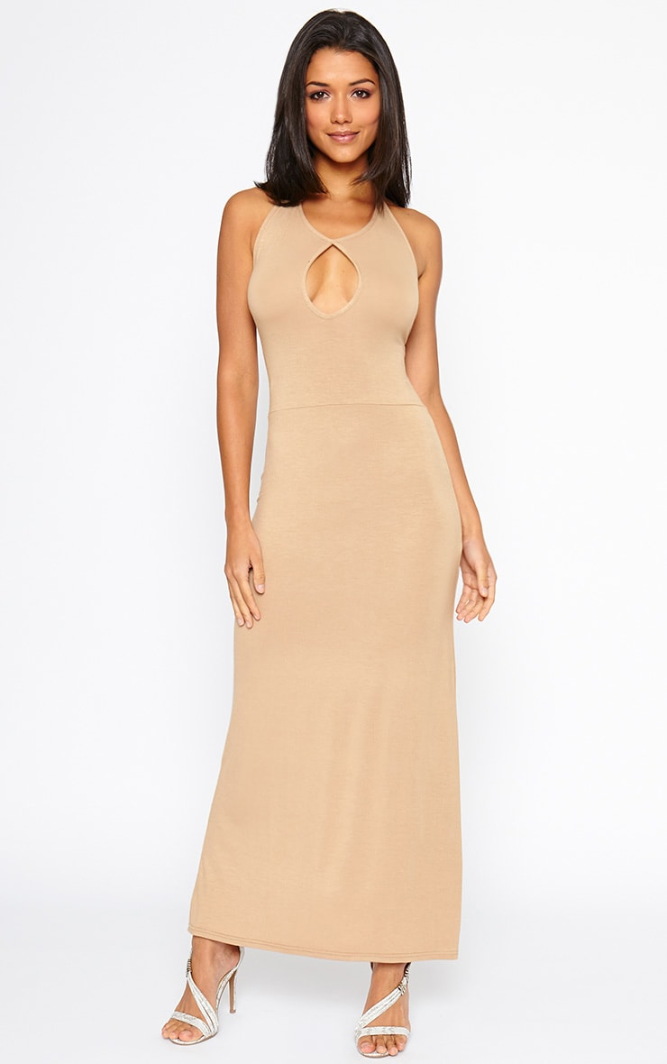 Kerry Camel Caged Back Maxi Dress 1