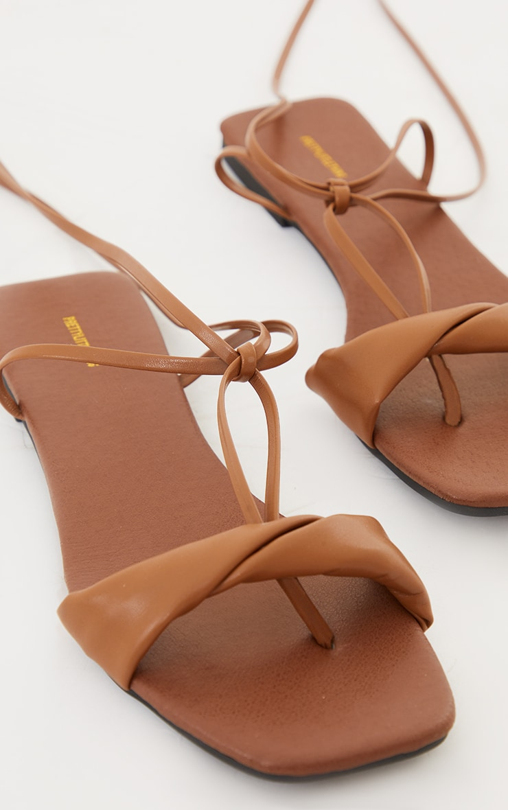 Tan PU Folded Square Toe Ankle Tie Sandals 3