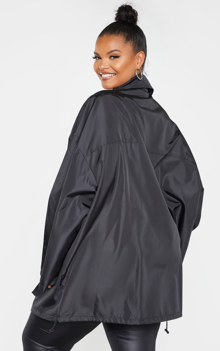 Plus Black Oversized Shell Utility Jacket 2
