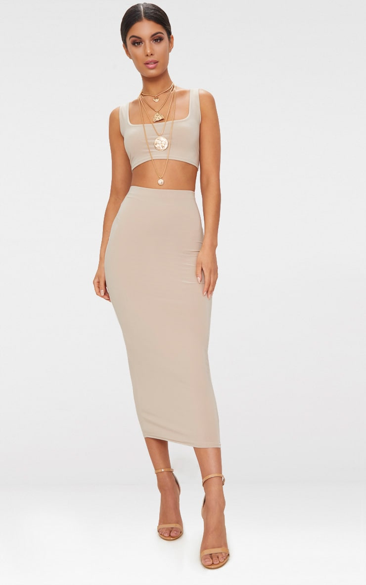 Stone Slinky Square Neck Sleeveless Crop Top  4