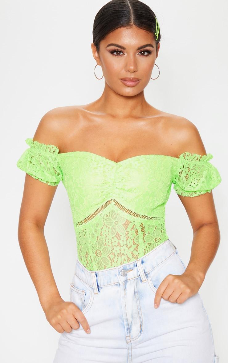 Neon Lime Lace Bardot Bodysuit 1