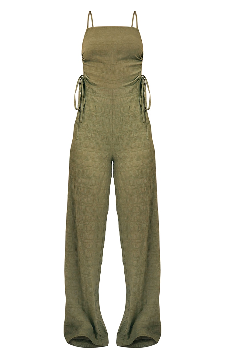 Khaki Crinkle Ruched Side Strappy Jumpsuit 5