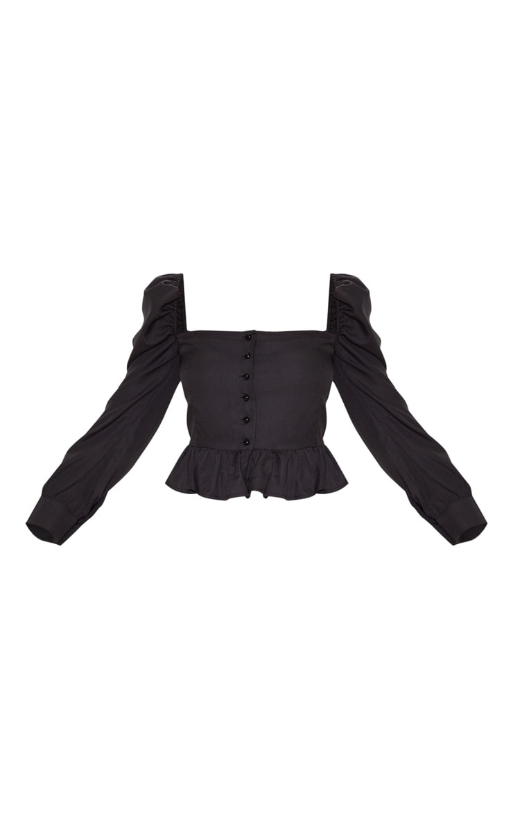 Black Cropped Frill Hem Square Neck Puff Sleeve Blouse 3