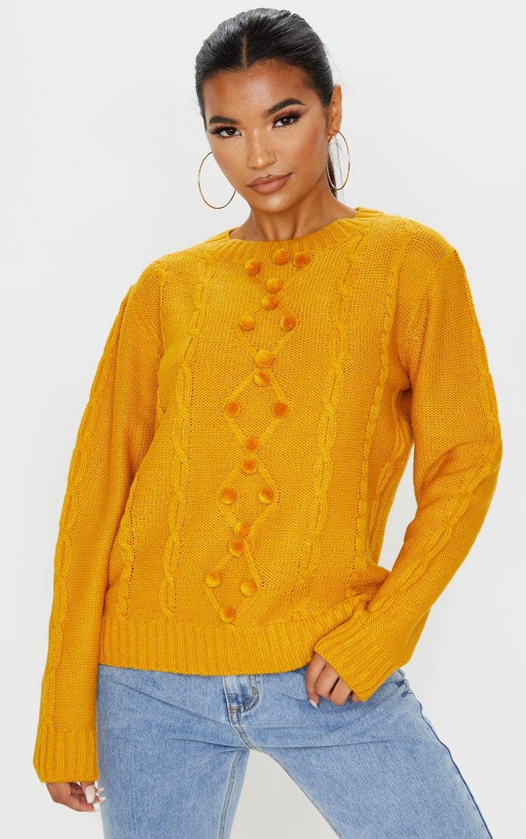 Mustard Pom Pom Detail Cable Knitted Jumper 4