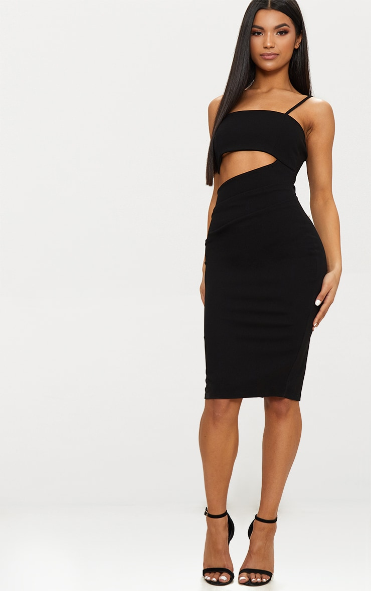 Black Strappy Square Neck Cut Out Detail Ruched Skirt Midi Dress  1