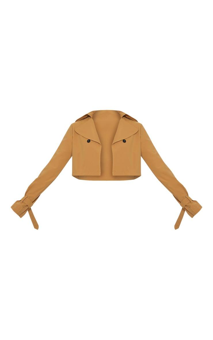 Camel Woven Button Detail Crop Jacket 3