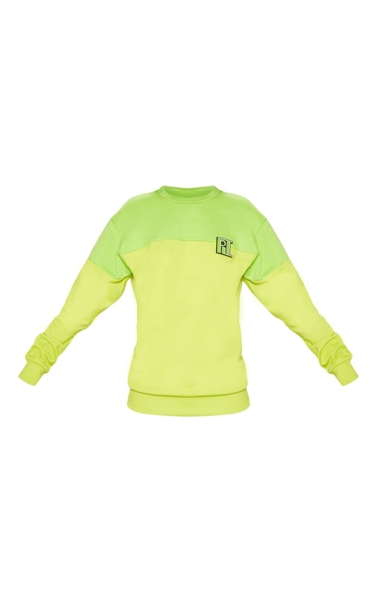 PLT Neon Lime Two Tone Oversized Sweater 3