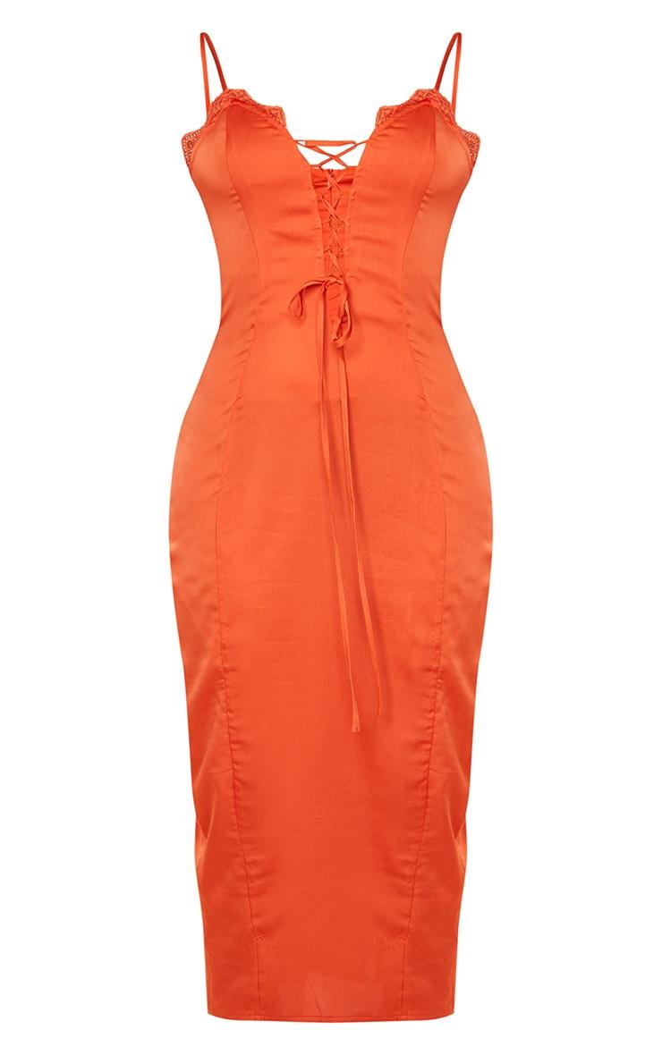 Orange Satin Lace Up Strappy Midi Dress 5