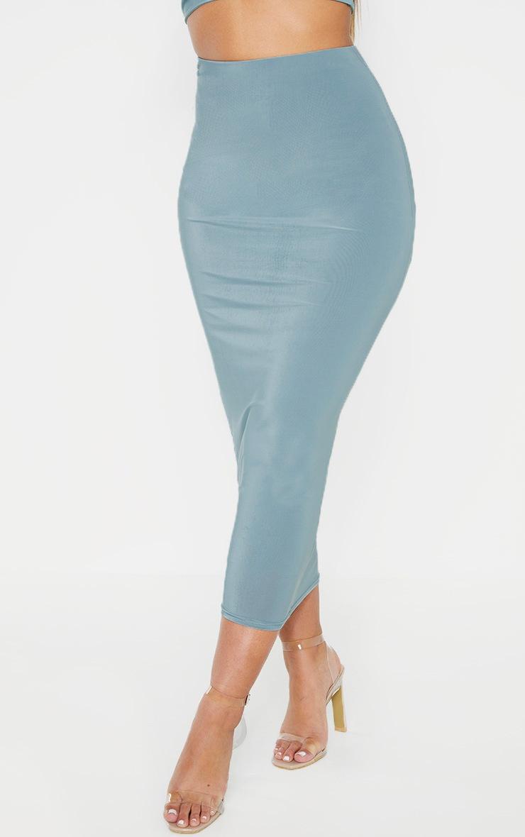 Mineral Blue Second Skin Slinky Longline Midi Skirt 2