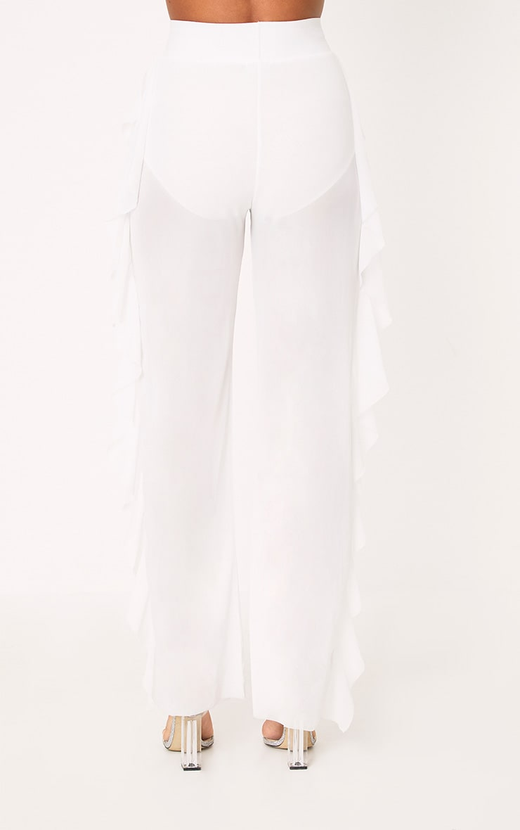 White Sheer Side Frill Trousers 4