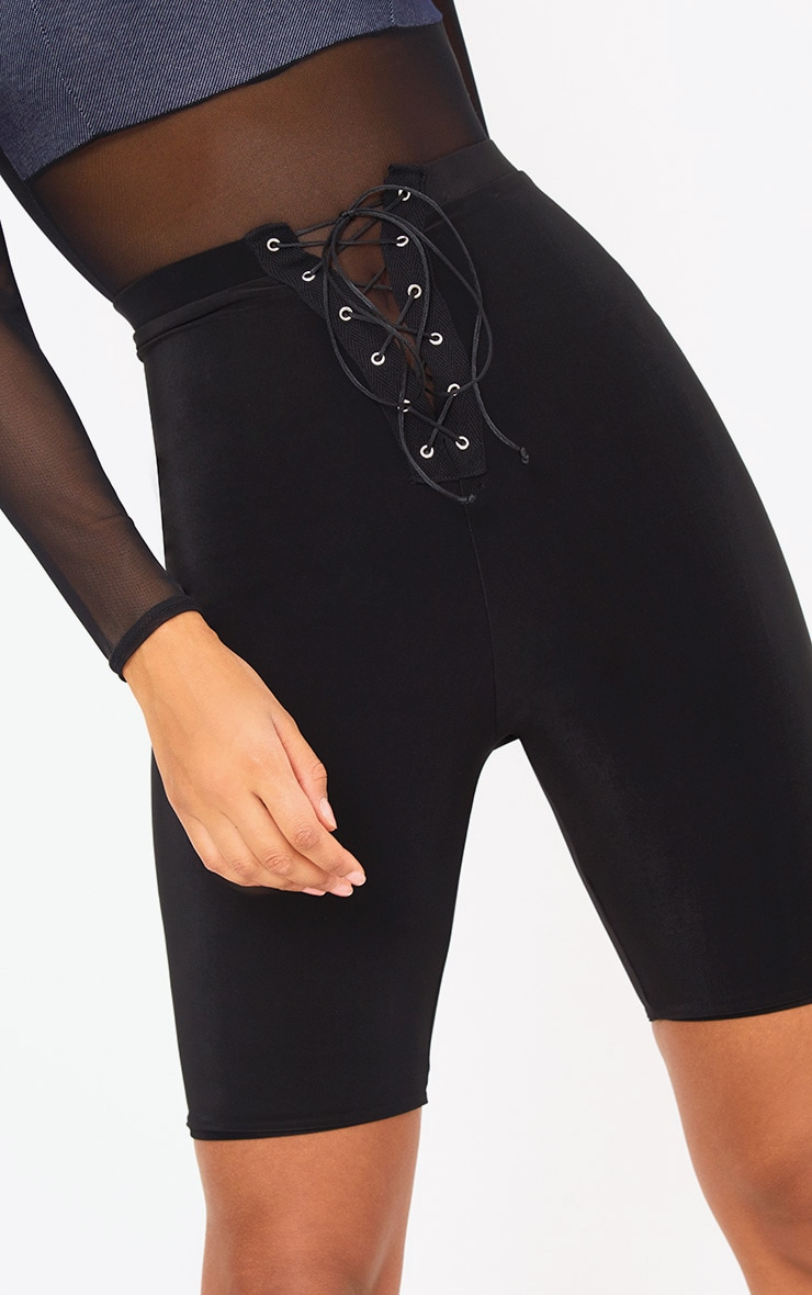 Black Slinky Lace Up Cycle Shorts 6