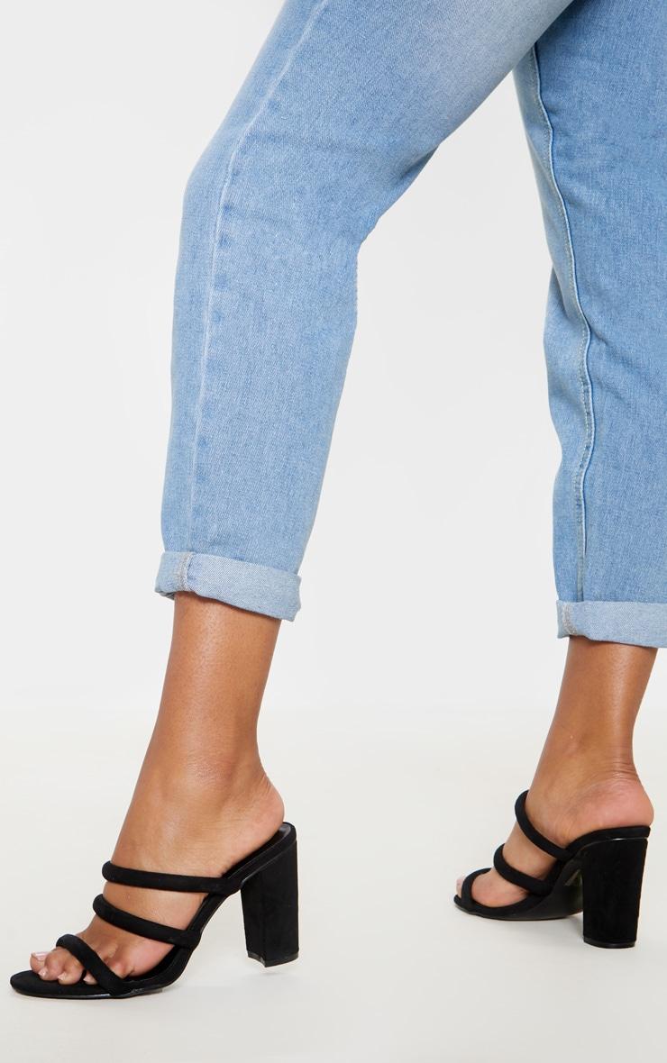 Black Triple Strap Mule Block Heel Sandal 2