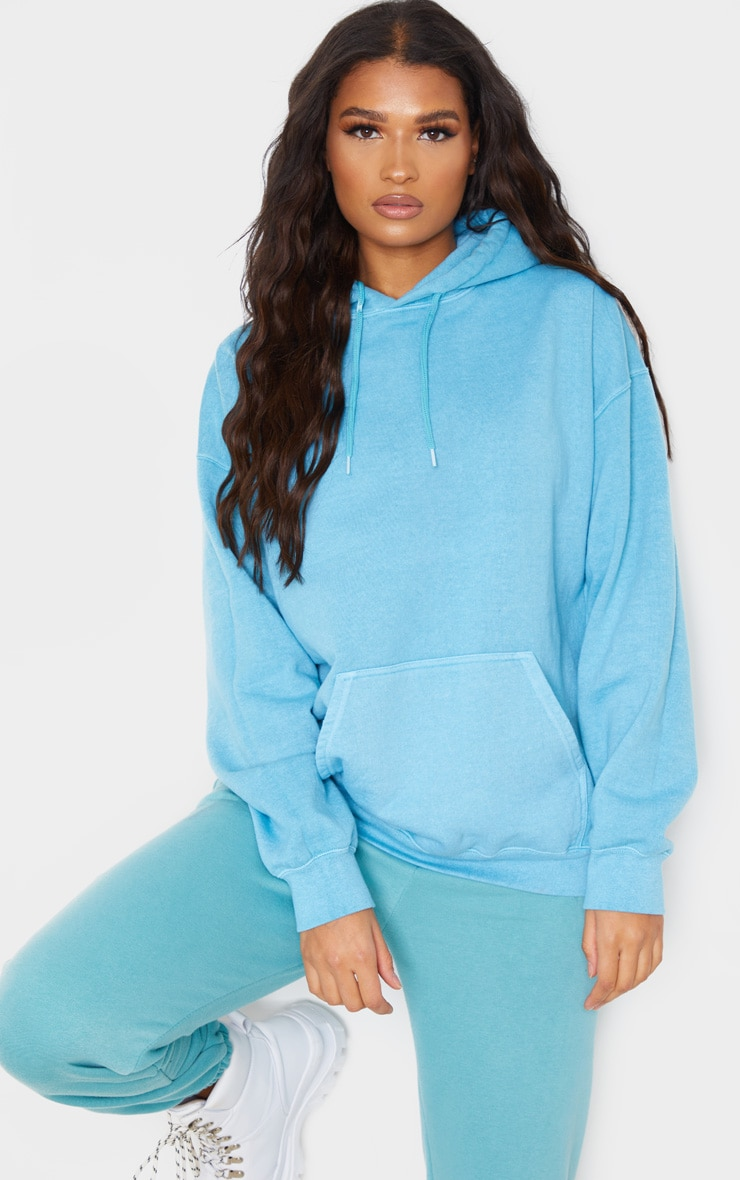 Dusty Turquoise Washed Oversized Hoodie 1