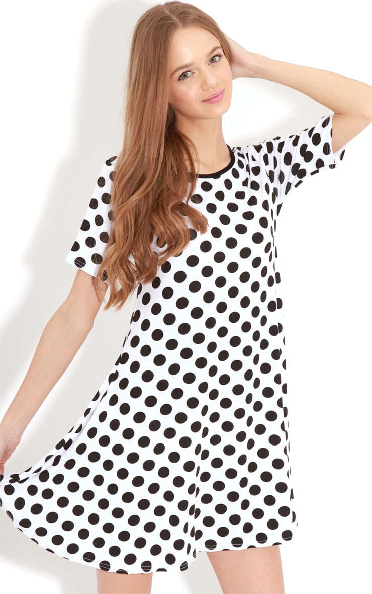 Ruth White Spot Swing Dress 1