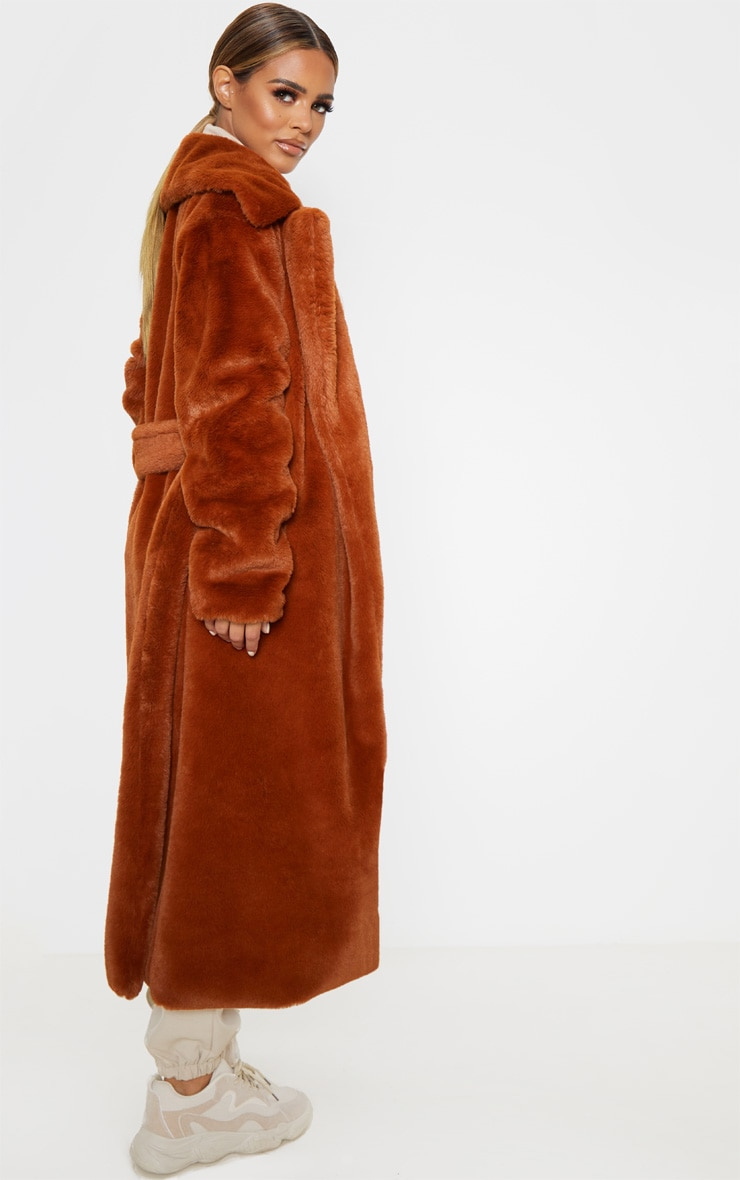 Petite Brown Belted Faux Fur Coat 2