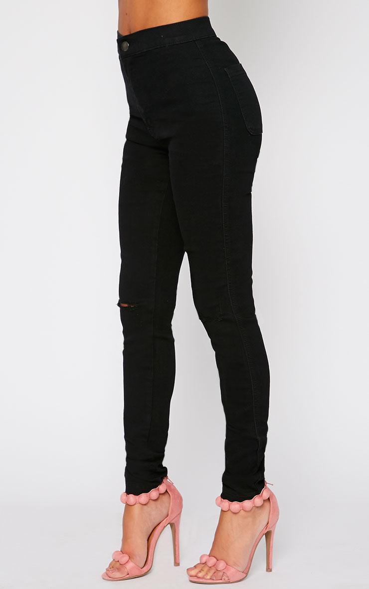 Mari Black High Waist Ripped Jean 3