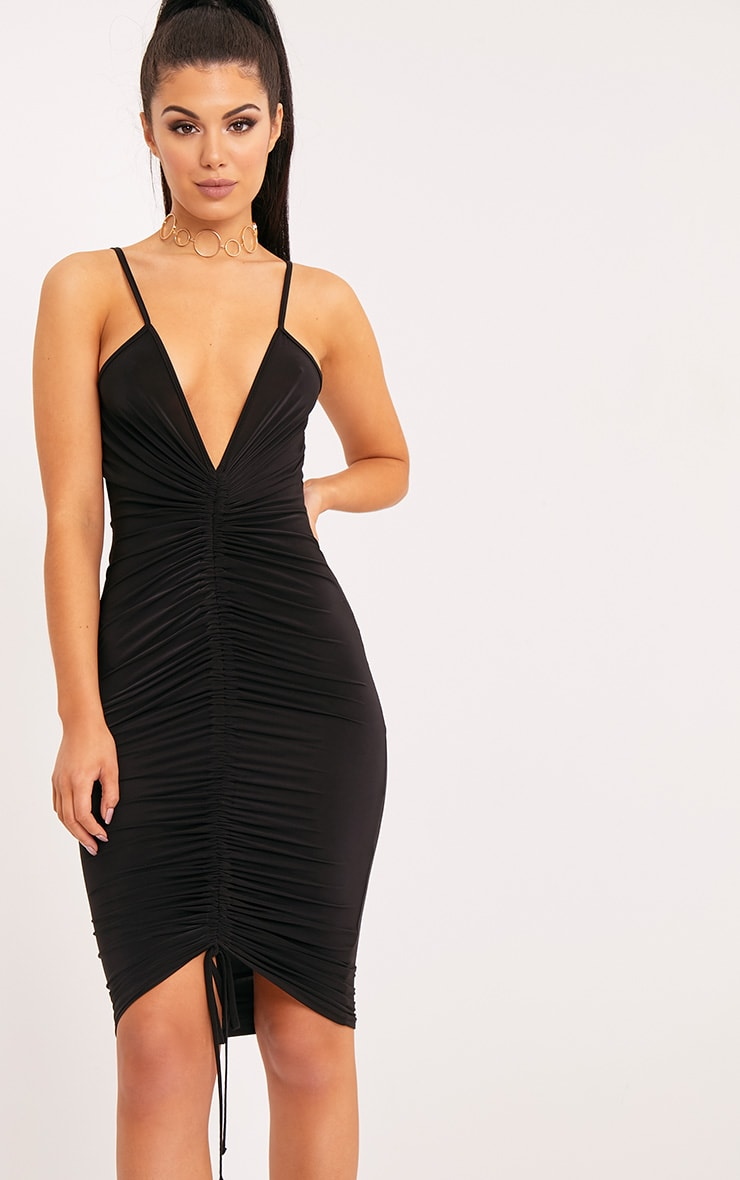 481964505854 Lucie Black Strappy Ruched Midi Dress | Dresses ...