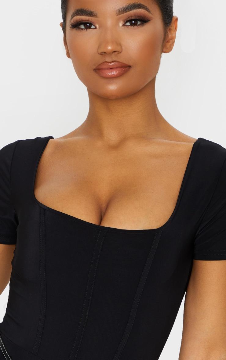 Black Slinky Boned Short Sleeve Bodysuit 6