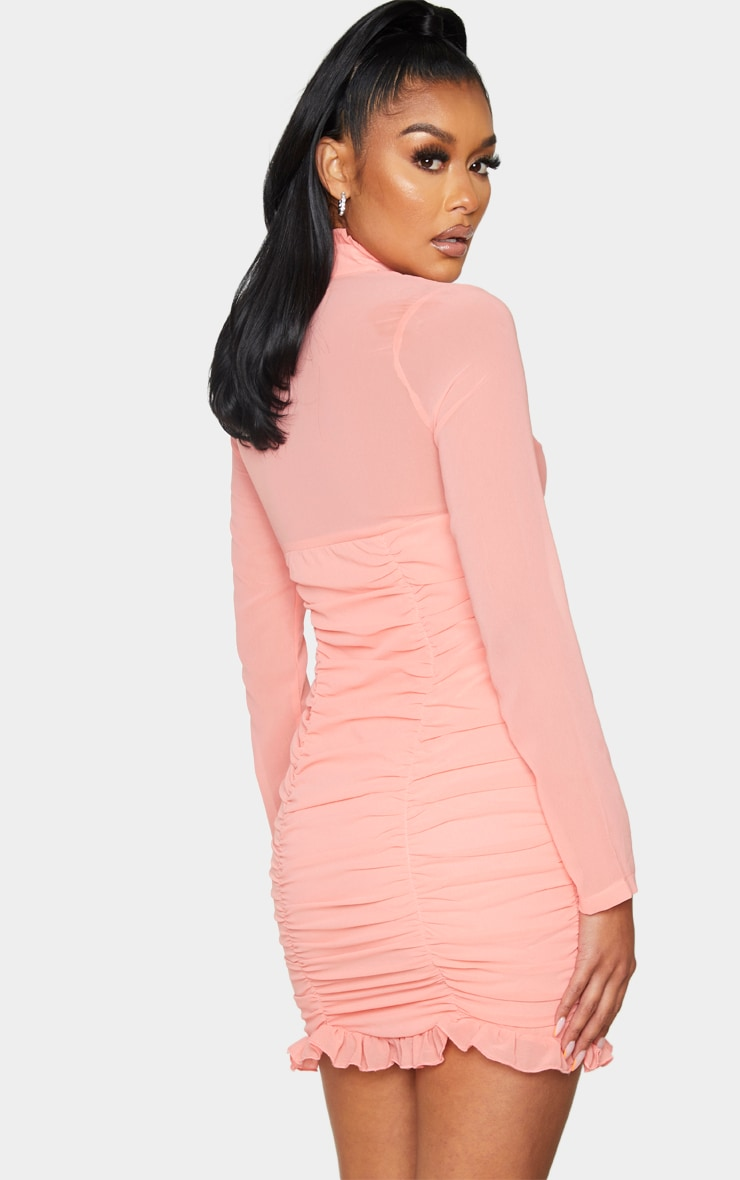 Peach High Neck Cut Out Ruched Frill Bodycon Dress 2