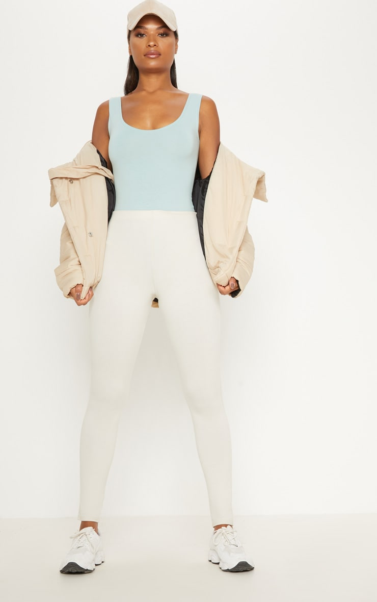 Mint Cotton Stretch Scoop Neck Thong Bodysuit 5