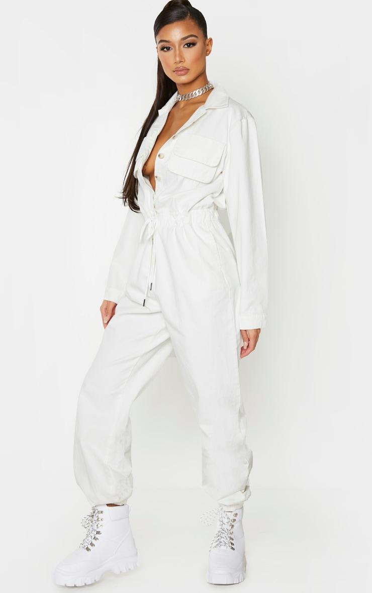 White Button Up Double Pocket Elastic Waist Denim Jumpsuit 1