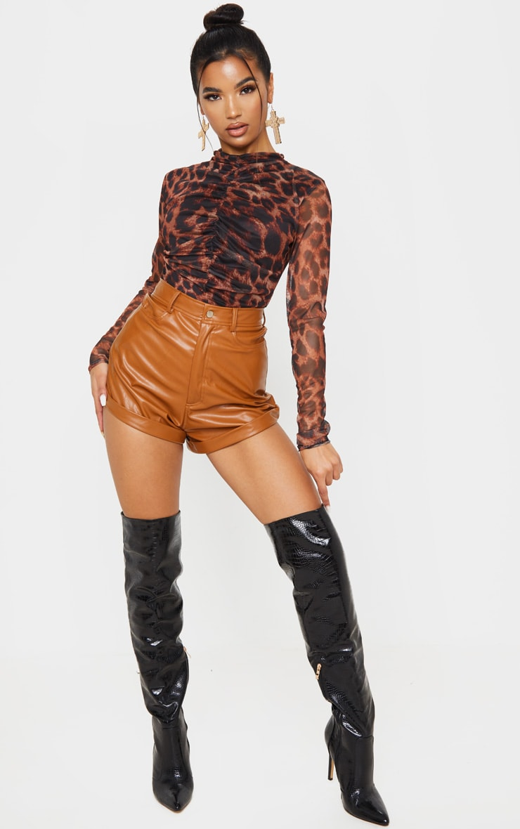Tan Leopard Print Mesh Ruched Bodysuit 5