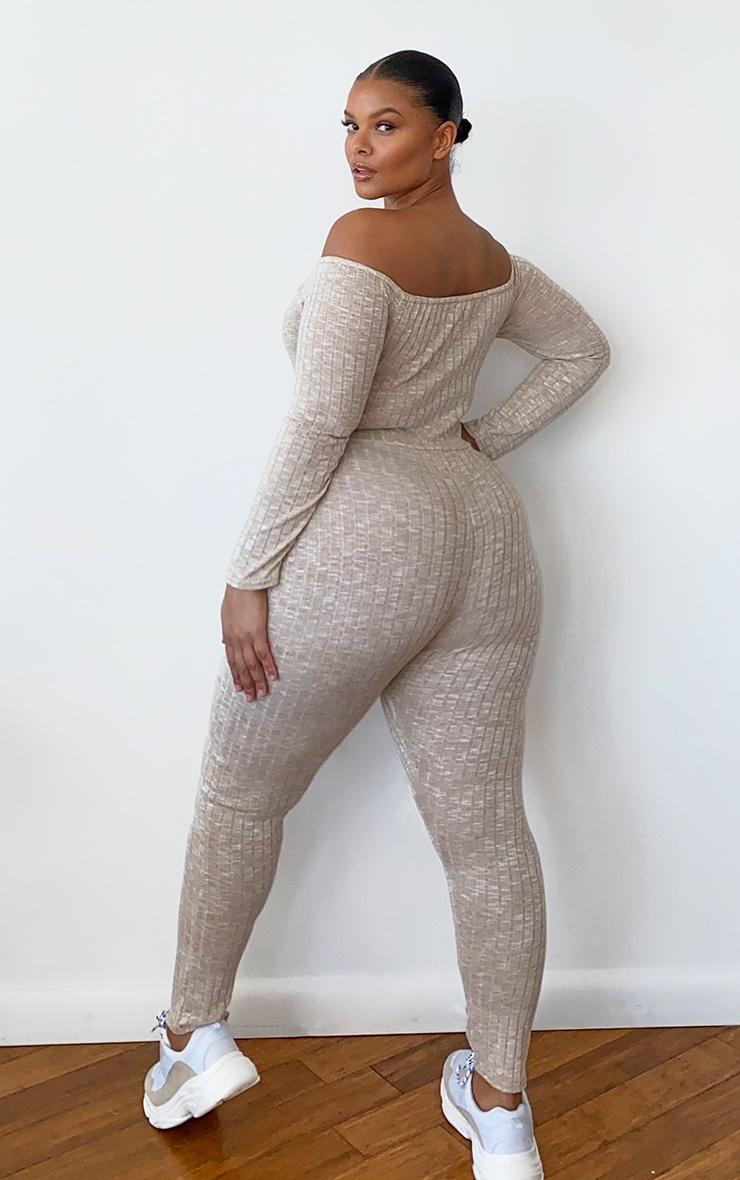 Plus Oatmeal Rib Knitted Bardot Jumpsuit 2