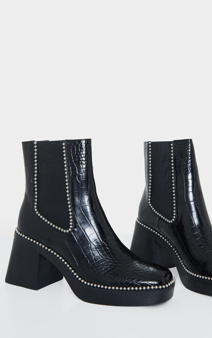 Black Square Toe Chunky Block Heel Chelsea Boot 4