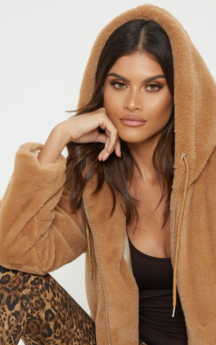 Taupe Faux Fur Cropped Hooded Jacket 4