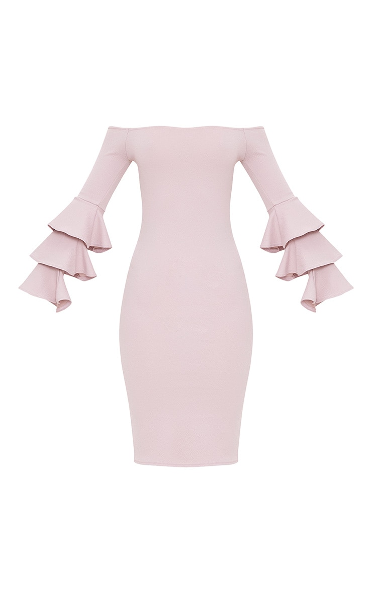 Lilac Grey  Bardot Ruffle Sleeve Midi Dress 3