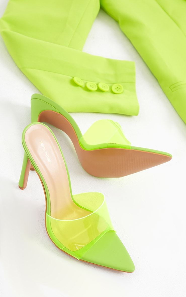 Lime Pointed Clear High Heeled Mules 4