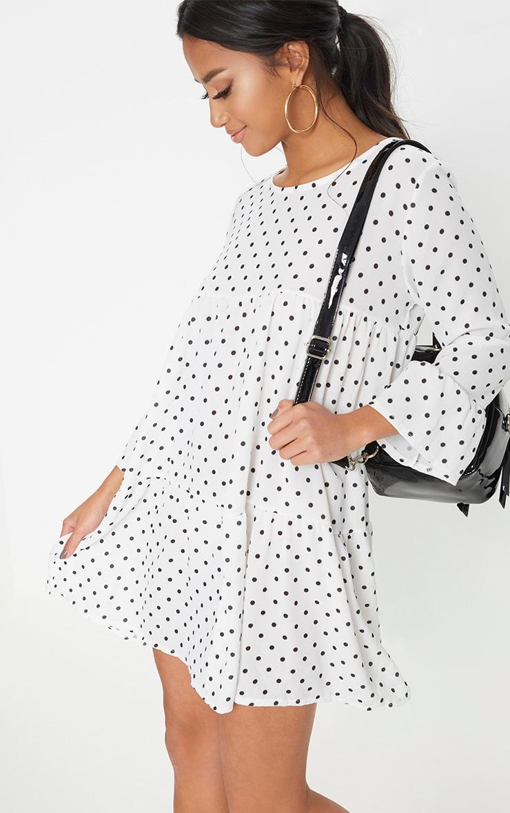 863aba32106 Petite White Polka Dot Smock Dress image 1