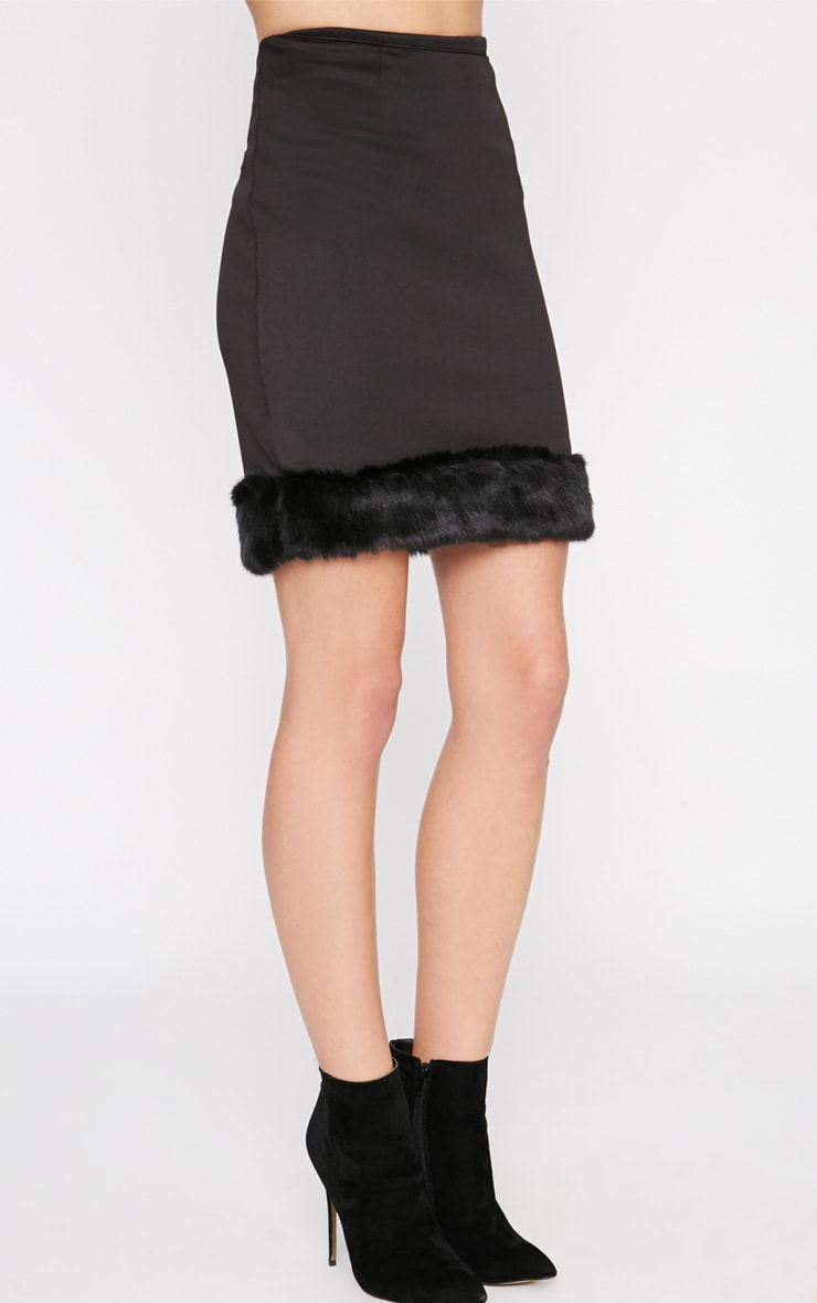 Rosella Black Fur Trim Mini Skirt  3
