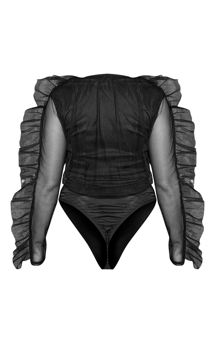 Black Mesh Plunge Front Bodysuit 4