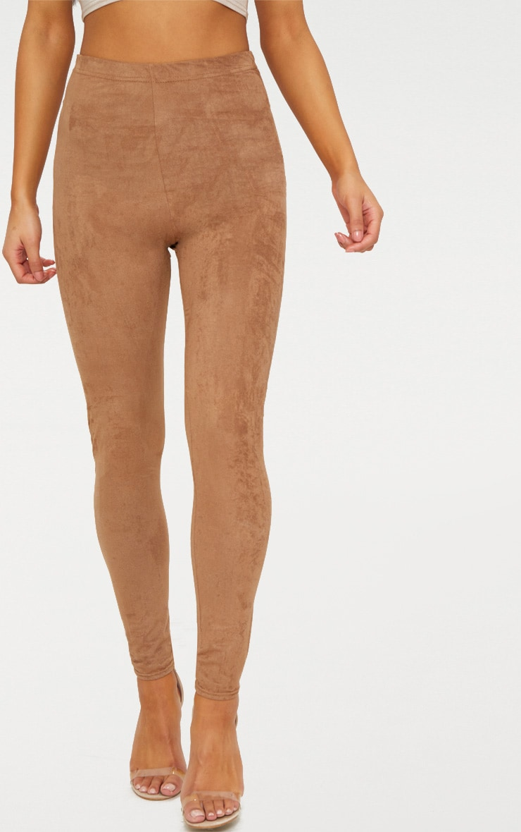 Taupe Faux Suede Skinny Trousers 2