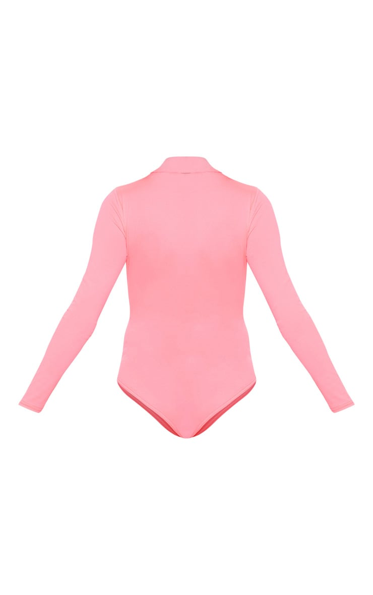 Neon Pink High Neck Jersey Long Sleeve Bodysuit  4