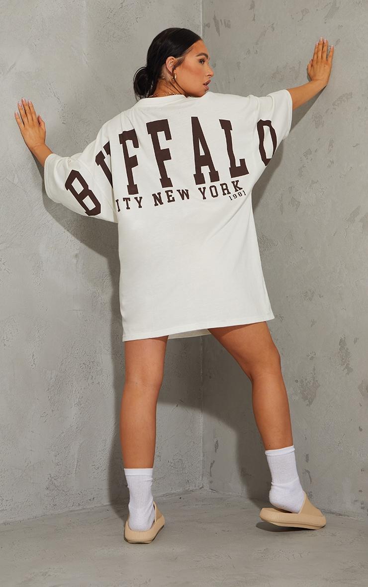 Stone Buffalo New York Slogan Short Sleeve T Shirt Dress 3