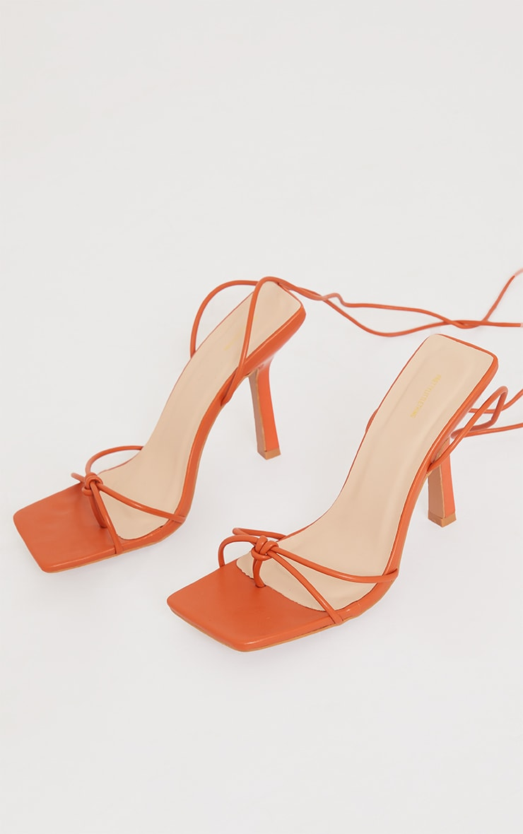 Orange PU Square Knot Detail Toe Thong Lace Up High Heeled Sandals 4
