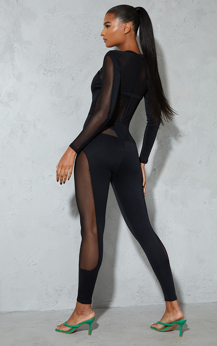 Black Long Sleeve Mesh Panelled Jumpsuit  2