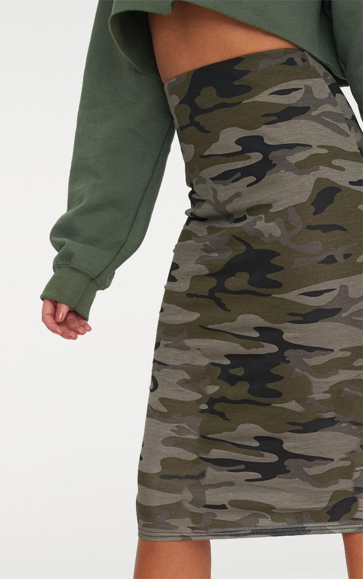 Khaki Camo Print Midi Skirt 5