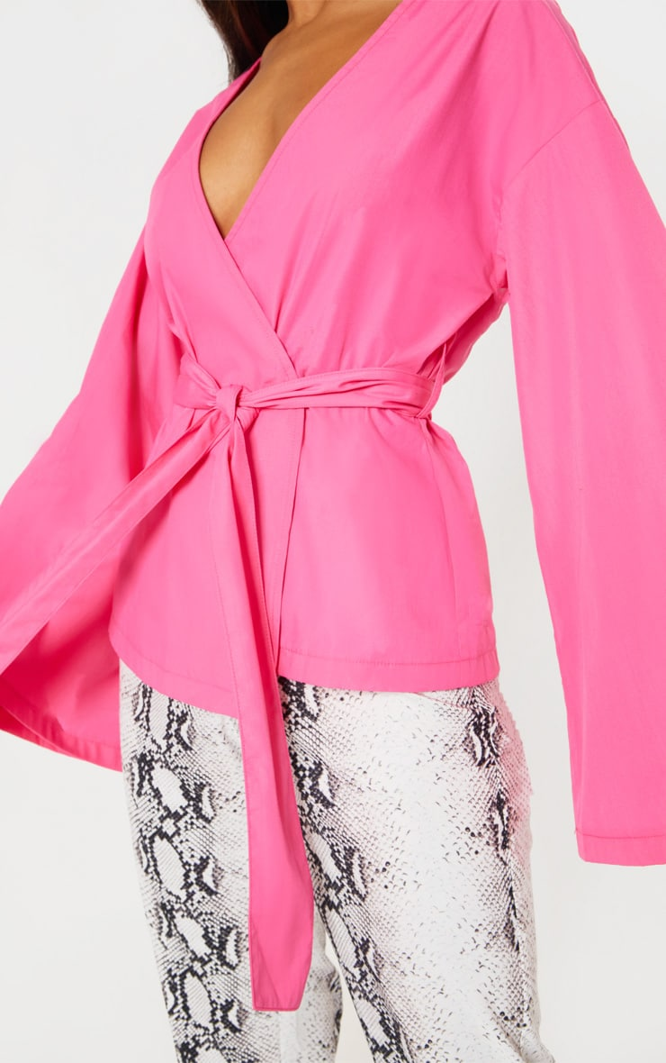 Pink Woven Belted Shirt 5