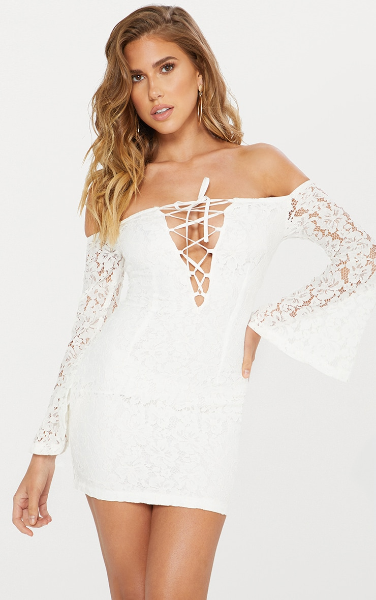 White Lace Bardot Flare Sleeve Bodycon Dress 2